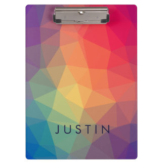 Elegant modern polygonal colored add your name clipboard