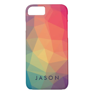 Elegant modern polygonal colored  add your name iPhone 8/7 case