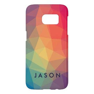 Elegant modern polygonal colored add your name samsung galaxy s7 case