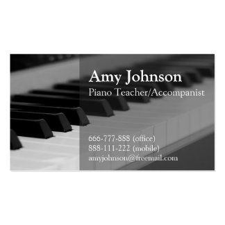 Elegant, Modern, Professional, Piano Teacher Pack Of Standard Business Cards