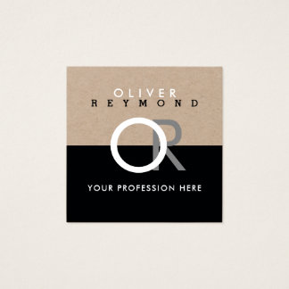 elegant, modern professional square kraft/black square business card