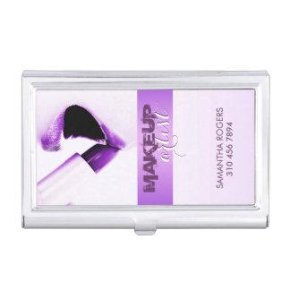 Elegant Modern Purple Makeup Artis Business Card Holder