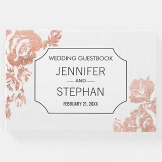 Elegant Modern Rose Gold Floral Wedding Guestbook