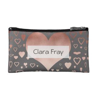 elegant modern rose gold foil hearts pattern cosmetic bag