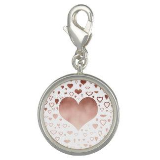 elegant modern rose gold foil hearts pattern photo charms