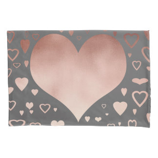 elegant modern rose gold foil hearts pattern pillowcase
