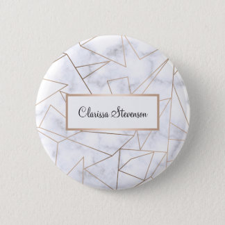 elegant modern rose gold geometric white marble 2 inch round button
