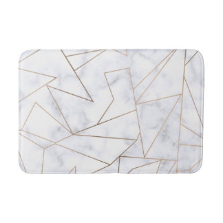 elegant modern rose gold geometric white marble bath mat