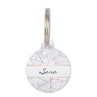 elegant modern rose gold geometric white marble pet tag