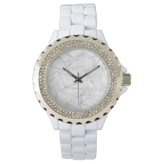 elegant modern rose gold geometric white marble watch