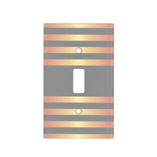 Elegant Modern Rose Gold Gradient Stripes Grey Light Switch Cover