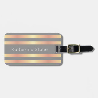 Elegant Modern Rose Gold Gradient Stripes Grey Luggage Tag