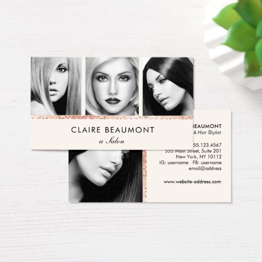 Elegant Modern Rose Gold Sequin Salon 3 Photo Card