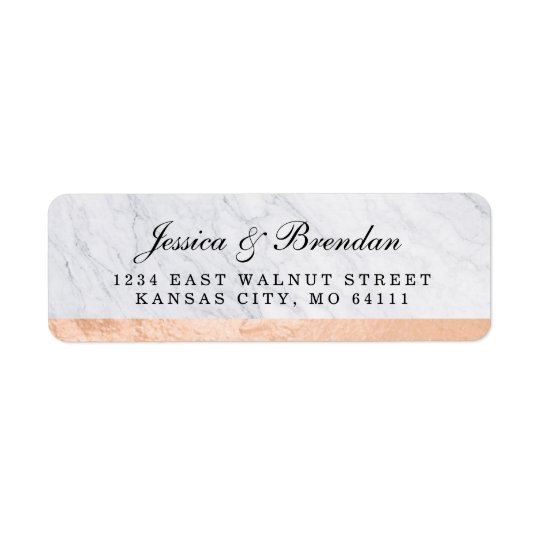 Elegant Modern Rose Gold Wedding Return Address