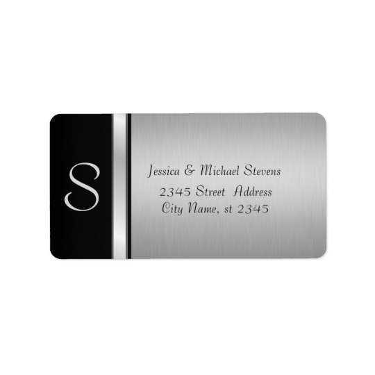 Elegant modern silver/ black monogram wedding label