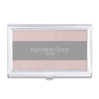 Elegant modern silver geometric triangles pink business card holder