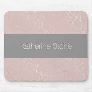 Elegant modern silver geometric triangles pink mouse pad