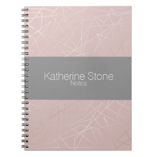 Elegant modern silver geometric triangles pink notebook