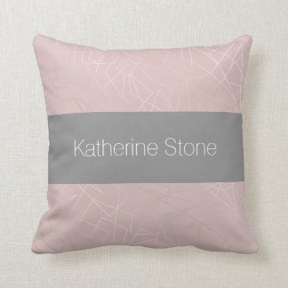 Elegant modern silver geometric triangles pink throw pillow