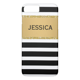 Elegant Modern Stripes Black Faux Gold Glitter iPhone 8 Plus/7 Plus Case