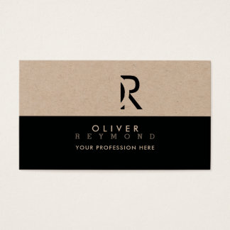 elegant, modern & stylish professional kraft/black business card
