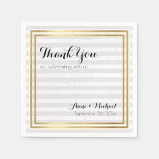 elegant & modern thank-you striped wedding paper napkins