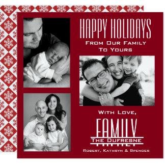 Elegant & Modern Three Photo Red Christmas Card