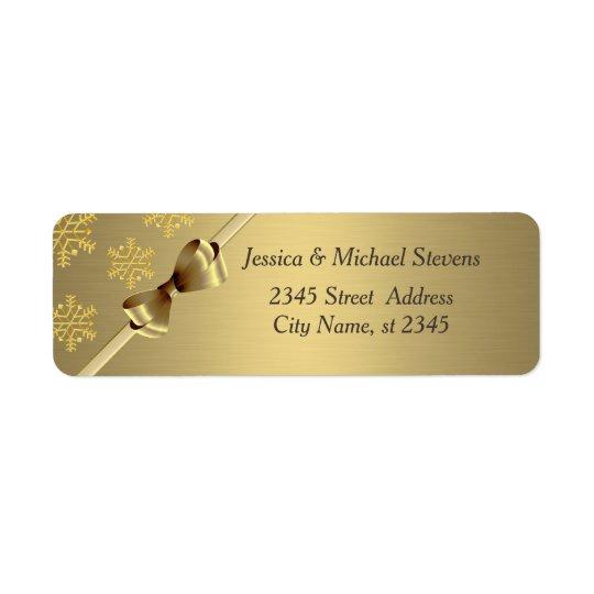 Elegant modern trendy gold holiday bow snowflake return address label