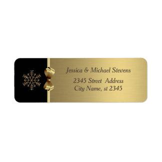 Elegant modern trendy gold holiday snowflake return address label