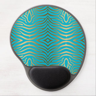 Elegant Modern Turquoise & GolD Zebra Stripes Gel Mouse Pad