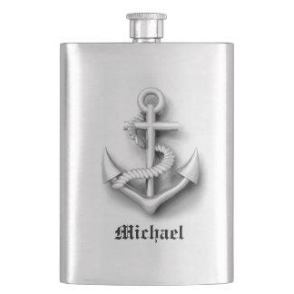 Elegant modern vintage anchor nautical /add name hip flask