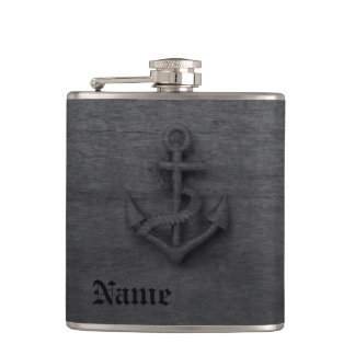 Elegant modern vintage anchor nautical flasks