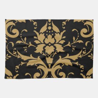 Elegant Modern Vintage Gold Damask on Black Towel