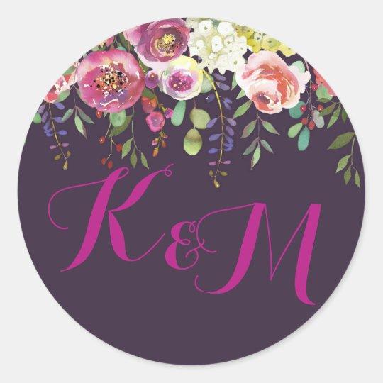 Elegant Modern Watercolor Floral Monogram Wedding Classic Round Sticker