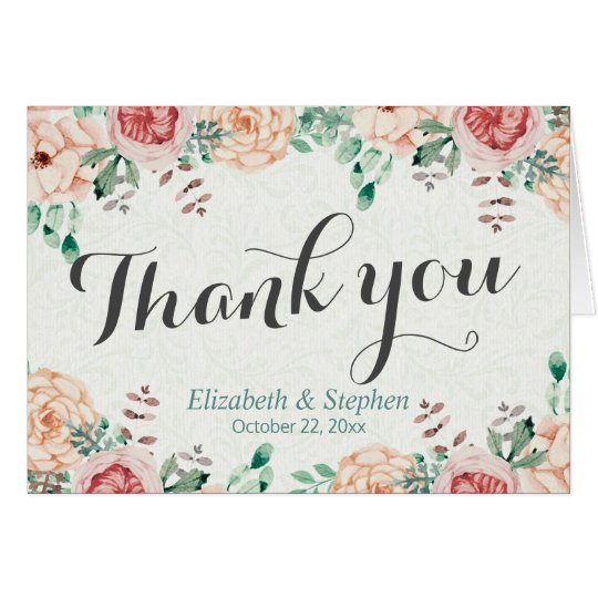 Elegant Modern Watercolor Floral Wedding Thank You Card