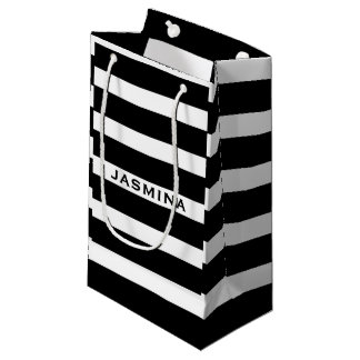 Elegant Modern White And Black Stripes Pattern 2 Small Gift Bag