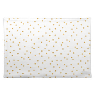 Elegant Modern White and Gold Confetti Dots Placemat