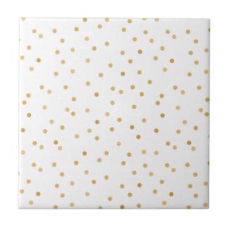 Elegant Modern White and Gold Confetti Dots Tile