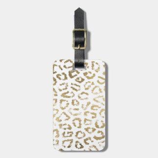 Elegant modern white faux gold leopard print bag tag