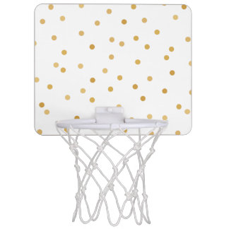 Elegant Modern White Gold Confetti Dots Mini Basketball Hoop