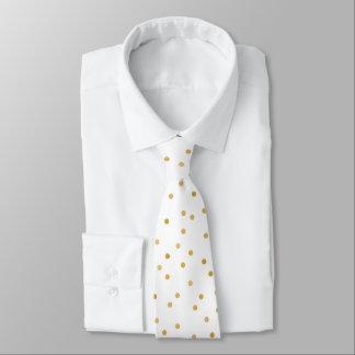 Elegant Modern White Gold Confetti Dots Tie