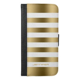 Elegant Modern White & Gold Stripes iPhone 6/6s Plus Wallet Case
