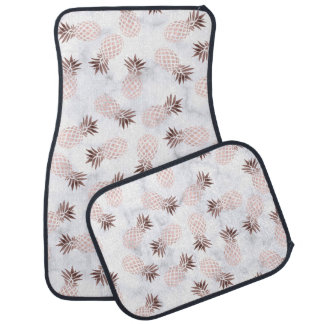 elegant modern white marble rose gold pineapple car mat
