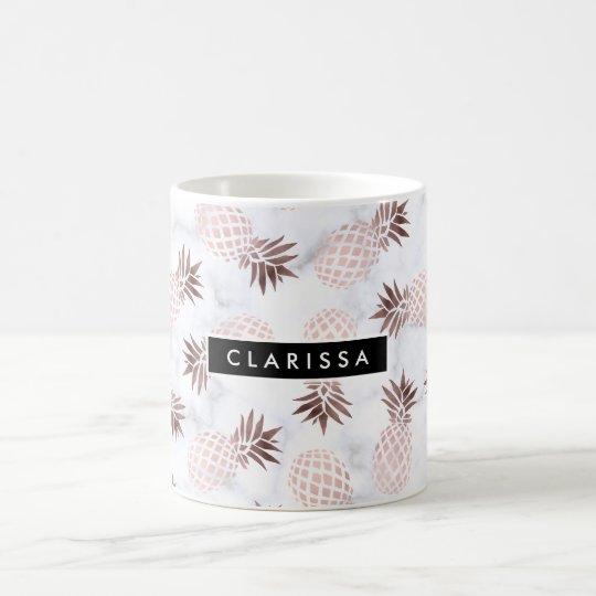 elegant modern white marble rose gold pineapple coffee mug