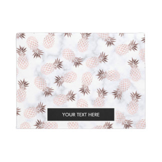 elegant modern white marble rose gold pineapple doormat