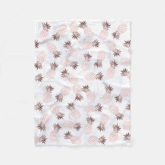 elegant modern white marble rose gold pineapple fleece blanket