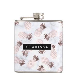 elegant modern white marble rose gold pineapple hip flask