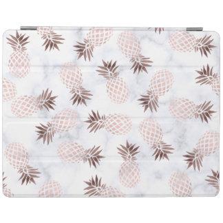 elegant modern white marble rose gold pineapple iPad cover