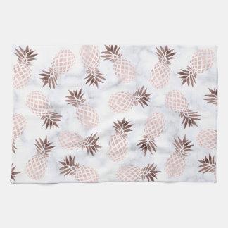 elegant modern white marble rose gold pineapple kitchen towel