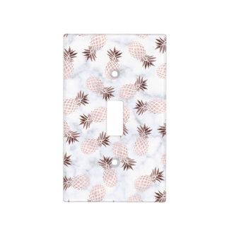elegant modern white marble rose gold pineapple light switch cover